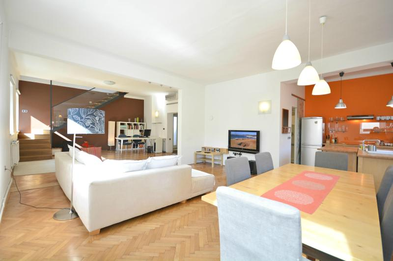 An exquisite and luxurious loft living room area of the apartment - 3-Bedroom Gradaška - Fine Ljubljana Apartments - Ljubljana - rentals