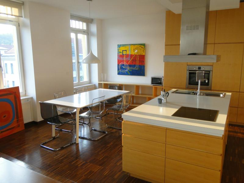 Wide and long dining table is next to the practical, functional, fully-equipped kitchen. - Modern 2-Bath Apartment with A/C, Balcony, Parking - Ljubljana - rentals