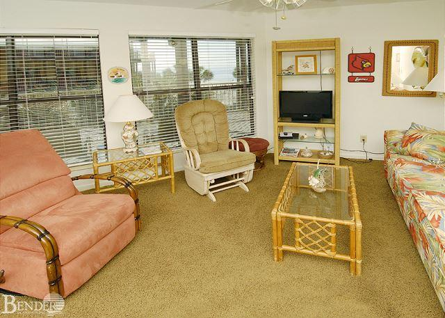 Living Room - Sandpiper 13B ~ Enjoy your View of Palms Trees ~ Bender Vacation Rentals - Gulf Shores - rentals