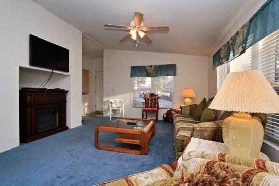 Large Living Room with Electric Fireplace and Flat Screen TV - Bluebird Cottage: Near Swim Beach and Meadow Park! - Big Bear Lake - rentals