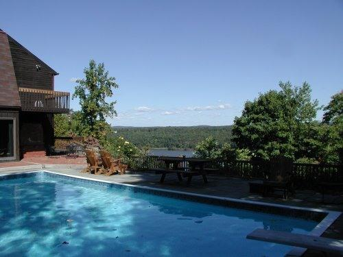 Pool and deck overlooking Hudson River - Spectacular Hudson Riverfront House, Pool, Views - Highland - rentals
