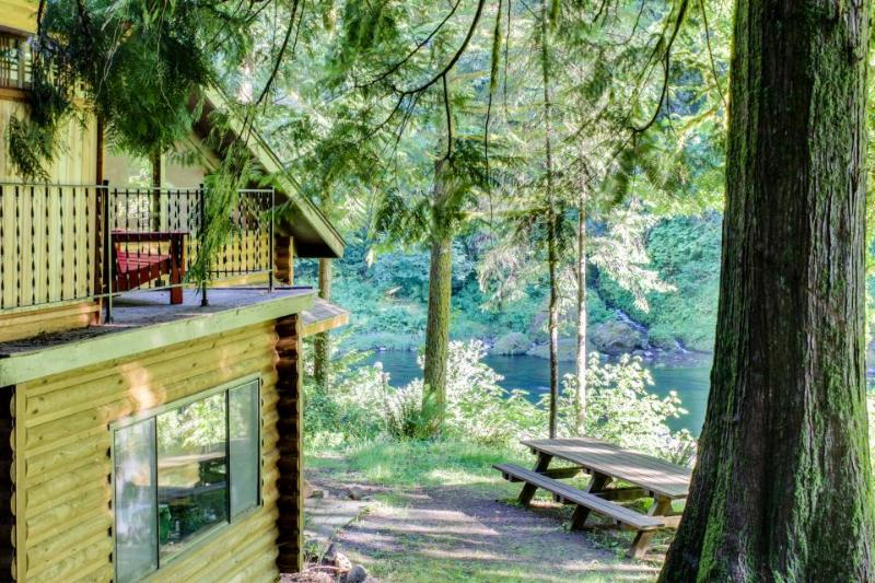 Spacious, riverfront lodge with beach access, private hot tub & forest views! - Image 1 - Washougal - rentals