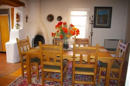 Dining Room w/ Kiva Fireplace - Classic Adobe East Side near Canyon Road - Santa Fe - rentals