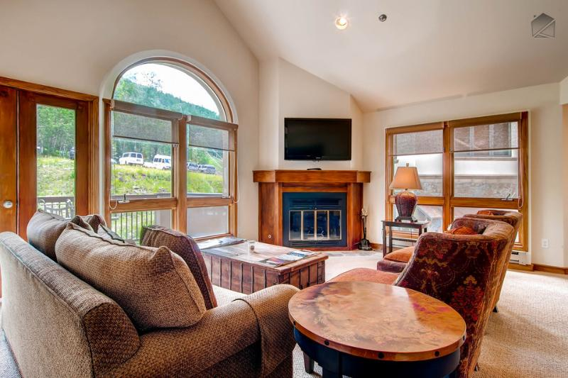 The spacious living room receives tons of natural light, so enjoy your cup of coffee here in the morning. - Great Ski in/Ski out Condo next to Gondola in Mountain Village - Sunlight Grove at Le Chamonix - Mountain Village - rentals