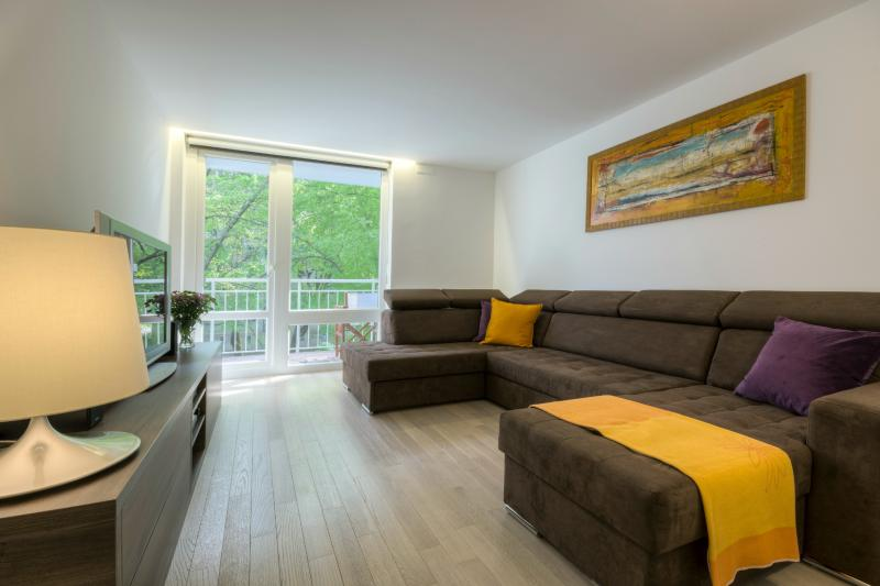Living room area with a massive suede sofa that an be folded out to a full-size bed - 1-Bedroom Kristanova - Fine Ljubljana Apartments - Ljubljana - rentals