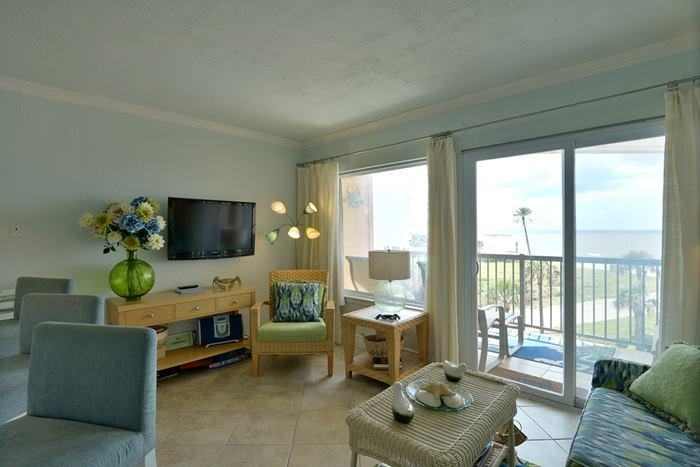 Living Room with flat screen tv and view of gulf - BadaBeach!  Award winning Gulf Front Condo - Galveston - rentals