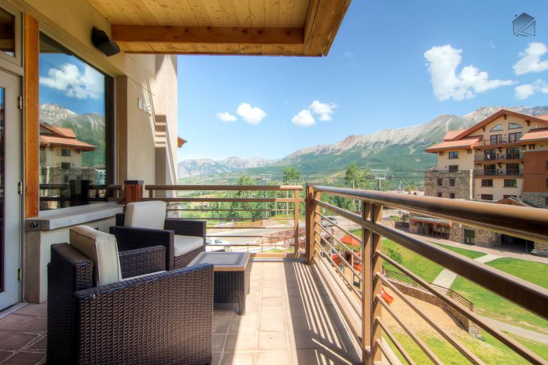 You've got mountains and blue skies galore from your deck. - In the center of the action - Private deck, Mountain Village core - The Plaza at Granita - Mountain Village - rentals