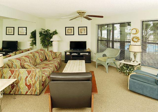 Living Room Area - Sandpiper 5A ~ Enjoy your Beachview through the Palms~Bender Vacation Rentals - Gulf Shores - rentals