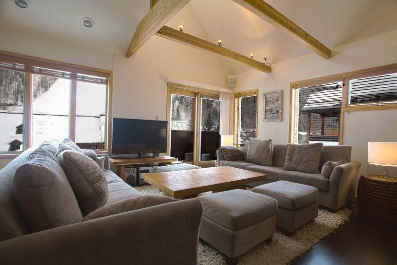 Open Floor Plan - Views of Lift 7 - Plush Couches and Ottomans for Entertaining - Lulu 3 E - 2 Bd / 2 Ba - Sleeps 5 - Comfortable Condo located 1 block from base of Lift 7 - Ideal Winter or Summer Rental - Views of the Ski Area - Telluride - rentals