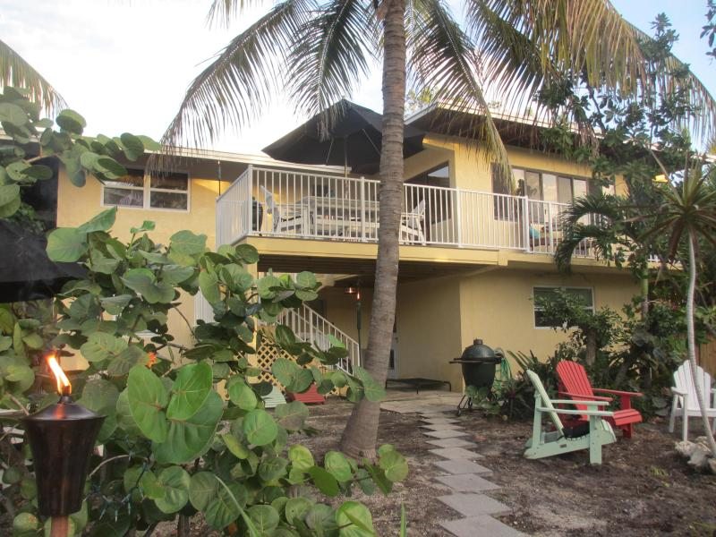 Rear of Home Facing Western Sunsets - Waterfront - Tropical Gardens - Privacy - 3 BR - Cudjoe Key - rentals