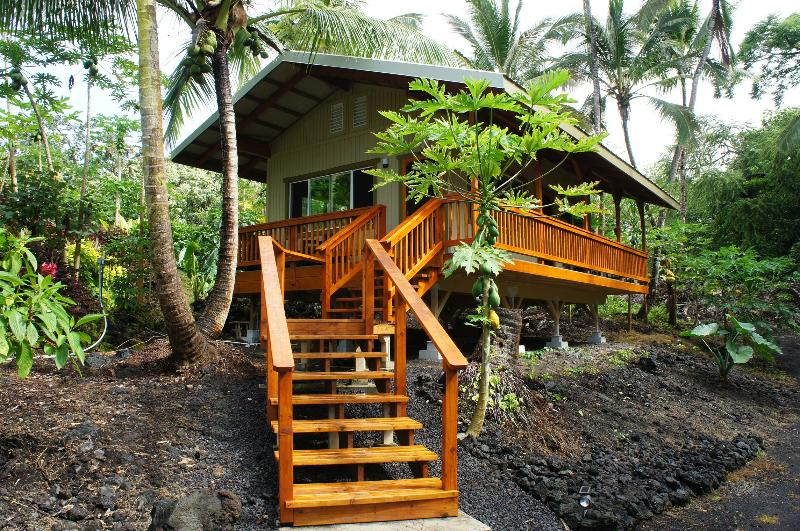 Our Ohana guest cottage, surrounded by papaya and coconut, on our tropical farm. - Hibiscus@Alu'Ula Off-Grid Eco- Farmstay Studio - Pahoa - rentals