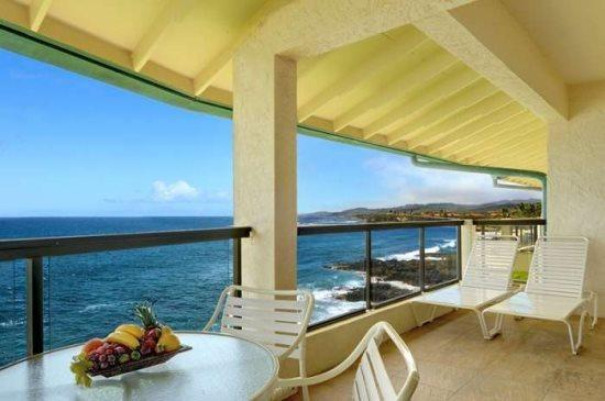 Lanai with an Ocean Front View. - Poipu Shores 405A One of the best views in Poipu from this renovated ocean front penthouse. Free car with stays 7 nts or more* - Poipu - rentals