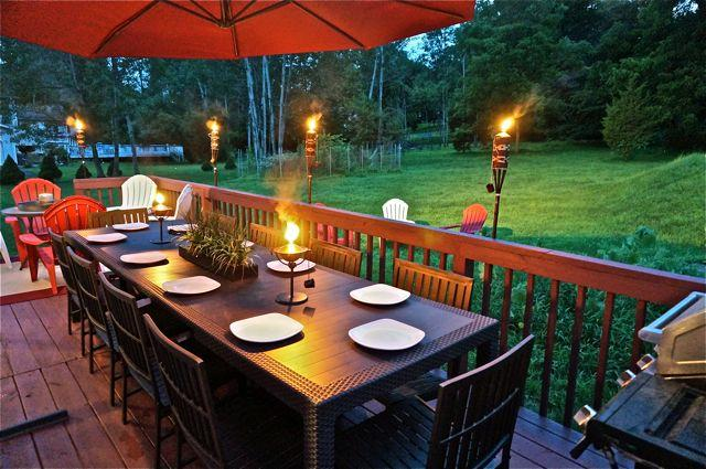 Have a fabulous tiki dinner at the extra large outdoor table - Newly Built Exquisetly Designed Luxury Estate - East Stroudsburg - rentals