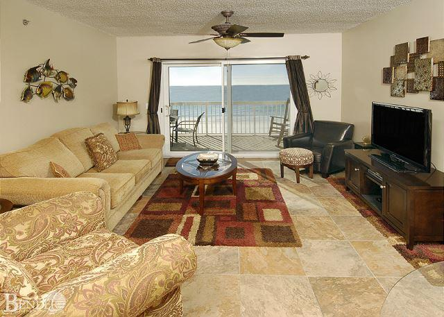 Living Room - Caribbean 502~Beautiful Condo with Rocking Chair View~Bender Vacation Rentals - Gulf Shores - rentals