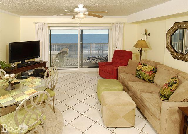 Living Room - Royal Palms 503~ Beachfront Condo with Indoor Hot Tub~Bender Vacation Rentals - Gulf Shores - rentals