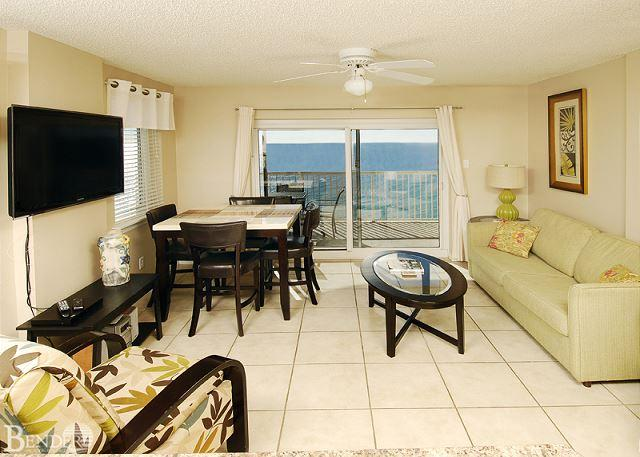 Dining Area/Living Room - Royal Palms 1201 ~ Corner Beachfront Condo ~ Bender Vacation Rentals - Gulf Shores - rentals