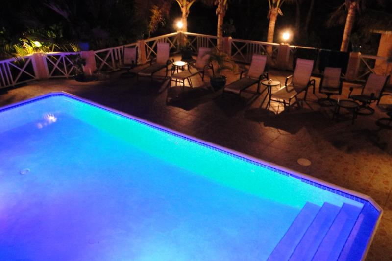 Chromatic pool and deck at night - Villa Tropica - Near beach, Luxury Villa, Pool - Providenciales - rentals