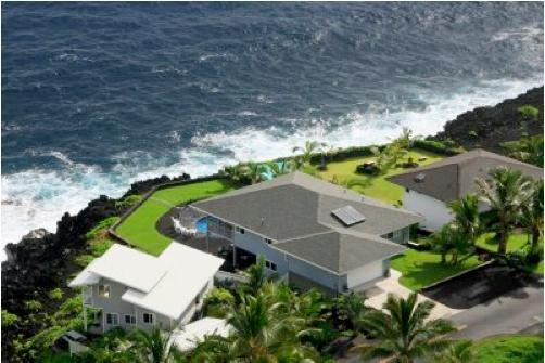 Aerial Photo of home.  Blue house in middle. - Private Oceanfront Home w/Pool - Great Rates! - Pahoa - rentals