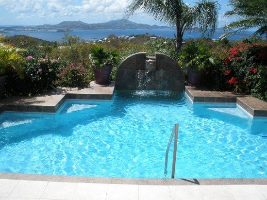 Enjoy breathtaking views of Pillsbury Sound and the Caribbean Sea from the pool deck at Villa Hibiscus - Villa Hibiscus - Cruz Bay - rentals