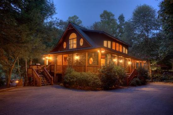 Riverhouse at dusk - Ellijay Rental Cabin On the Water - Ellijay - rentals