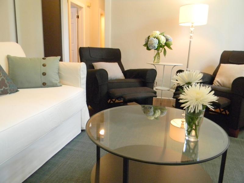 "Living Room, 2 Recliners, Sleeper Sofa, 46-inch Samsung Smart TV - A ""Work of Art"" in Old Westport - 2 Bedroom House - Kansas City - rentals"