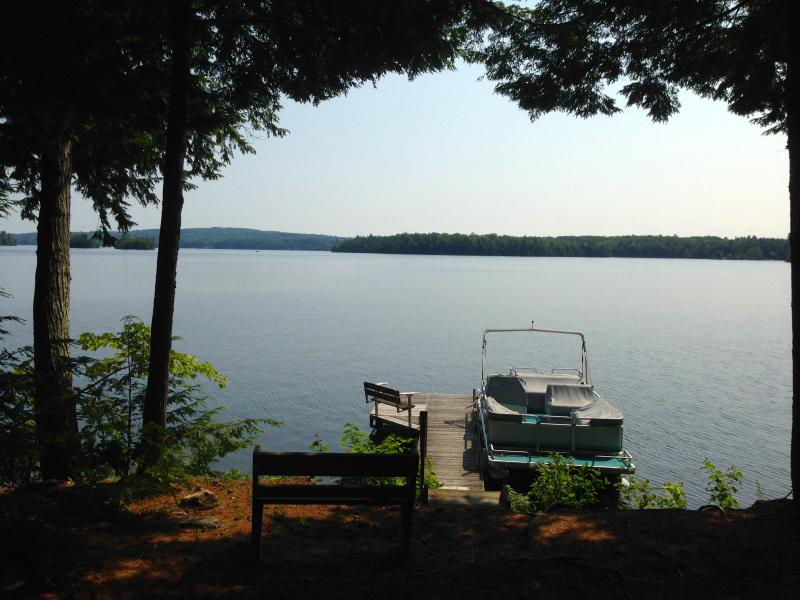 Dock in front of house - Laughing Loon Cottage on Lake Cobbosseeconte - Winthrop - rentals