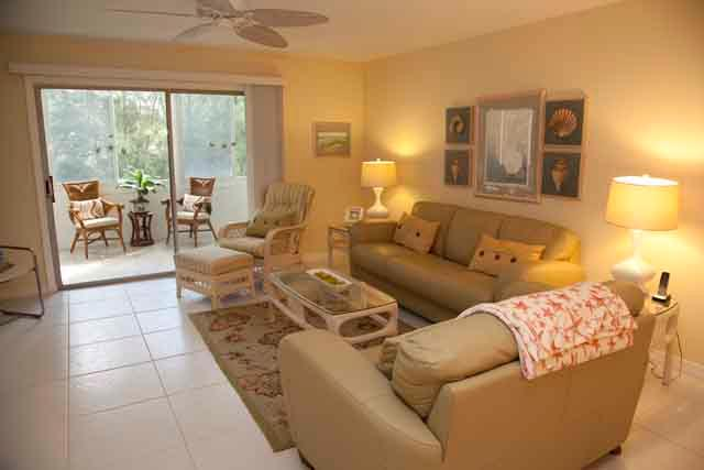 Living Room - Gulfside Mid-Rise Unit 205D - Siesta Key - rentals