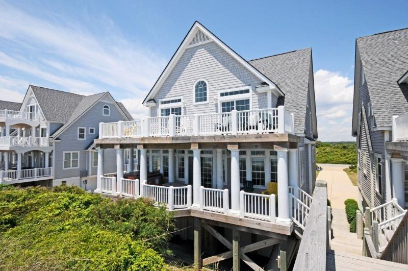 View of House From Beach - Island Drive 4276 Oceanfront! | Internet, Community Pool, Hot Tub, Jacuzzi, Fireplace, Foosball - North Topsail Beach - rentals