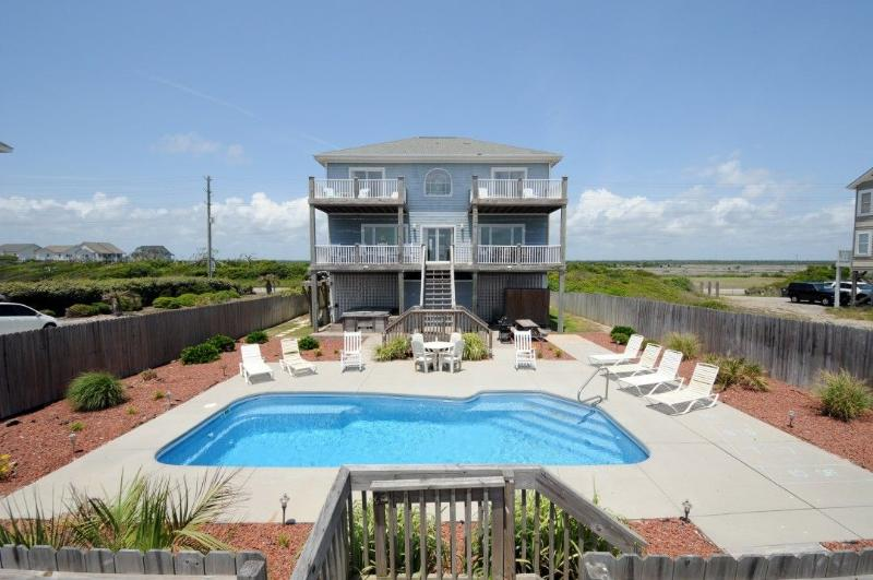 View of House From Beach - Island Drive 3858 Oceanfront! | Private Heated Pool, Hot Tub, Jacuzzi, Internet, Fireplace - North Topsail Beach - rentals