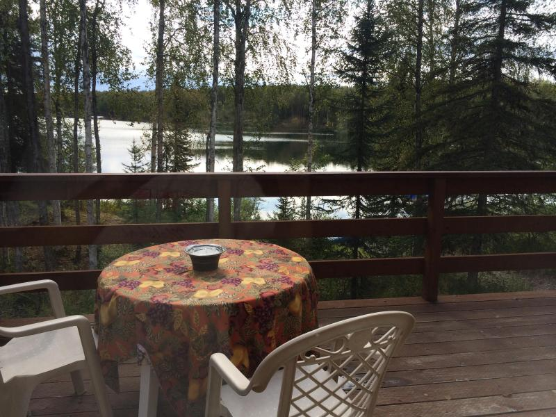 Deck from Kitchen  Livingroom in the summer - Cabin on Quiet Lake in Willow Alaska - Willow - rentals