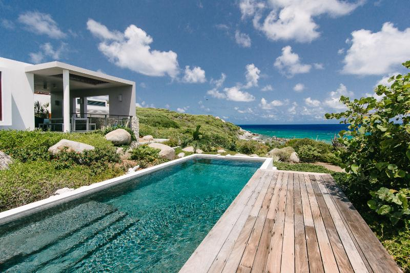Dining Terrace, Pool and Pool Deck - Modern Beachfront Villa, 180 Views, Pool, 3BR - Virgin Gorda - rentals