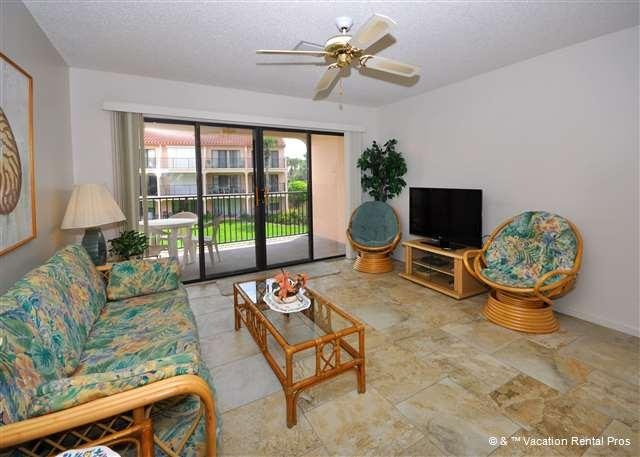 Relax and enjoy our sunny living room - Sea Place 12232 Coastal Rental pool, wifi, HDTV & Blue Ray - Saint Augustine - rentals