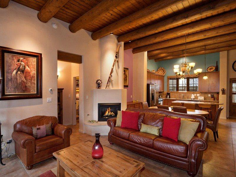 Open concept first floor with sleeper sofa and flat screen TV - Two Casitas- Puerta De Sol- Upscale and Exquisite - Santa Fe - rentals