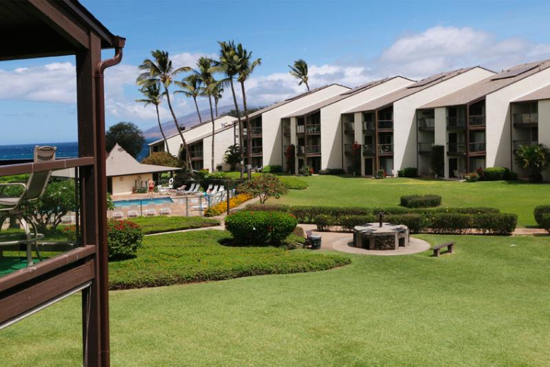 View from Our Lanai with wide angle - Hale Kamaole 265 Oceanview Updated 2BR plus Loft - Wailea - rentals