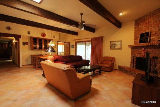 Living room with fireplace - Private, Spacious, Pet Friendly Three Bedroom Home with Mountain Views and a Two Car Garage Near Sabino Canyon - Tucson - rentals