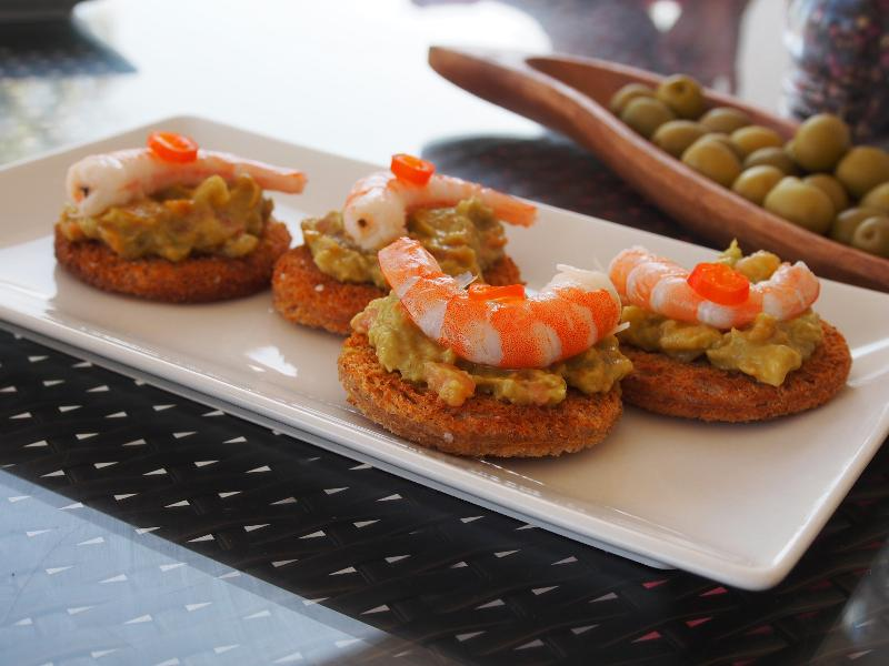Tostada topped with homemade guacamole and prawn - Casa Colina Staffed Villa in Andalucia - Comares - rentals