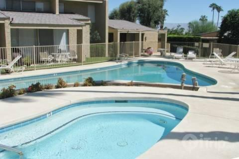 Step from the patio into the pool and spa - Art + Design Poolside - Garden Villa by Pool & Spa - 2 bedroom/2 bath - Ironwood CC - Palm Desert - rentals
