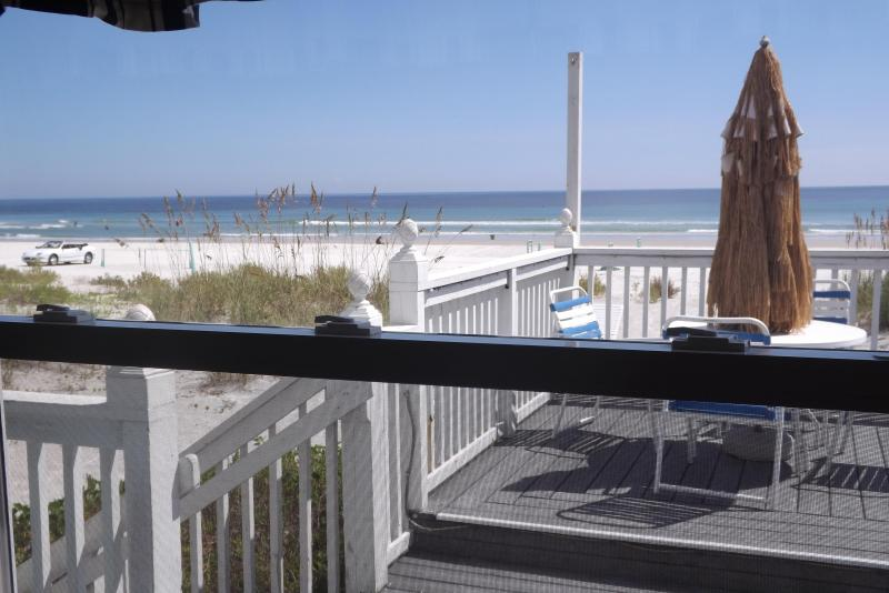 view from your living room window yes you are right on the ocean and sand of the beautiful beach! - Oceanfront 2/2 Groundfloor Beach Bargain - New Smyrna Beach - rentals