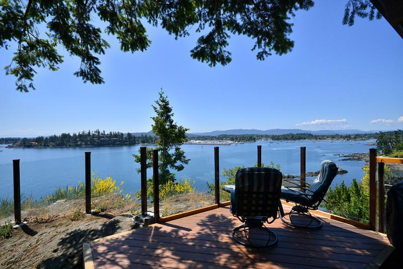 Main deck with sweeping views - Spectacular Sidney 3 Bedroom Ocean Front Home with Incredible Island Views - Sidney - rentals