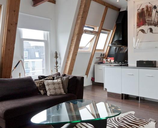 Living room open kitchen - Stylish central loft with large terrace, fireplace. - Amsterdam - rentals
