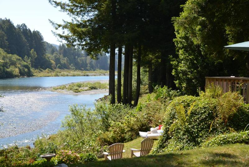 Gentle slope to the river bank with great views from all levels - River Front Home On The Beautiful Smith River - Crescent City - rentals