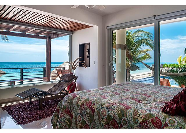 View from master bedroom is breath taking - Luxury Two Bedroom Oceanfront Condo, private deck - Puerto Morelos - rentals