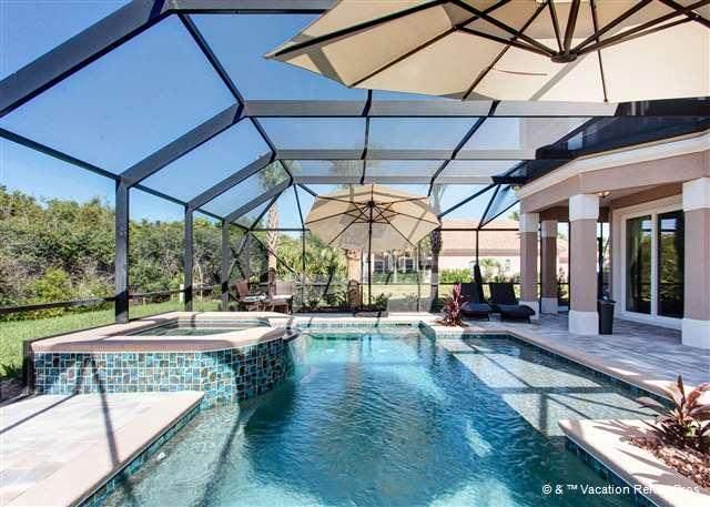 Sandpiper Hammock has outdoor pool with spa, screened in lanai - Sandpiper Hammock, Private Heated Pool, Spa, new HDTVs, Elevator - Palm Coast - rentals