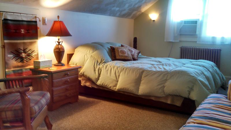 Bedroom with queen bed, nice lighting, warm tones. - Sweet efficiency 'The Nook' Saranac Lake - Saranac Lake - rentals