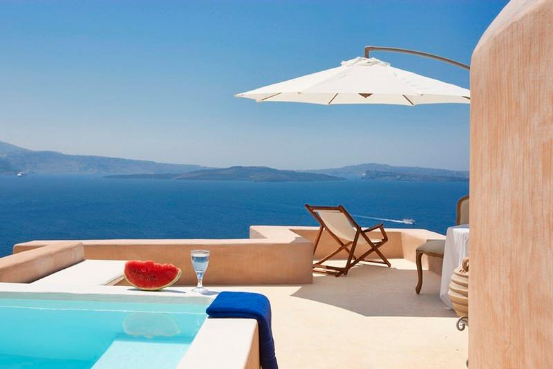 Terrace - Blue Villas | Galini |Romantic villa, caldera view - Oia - rentals