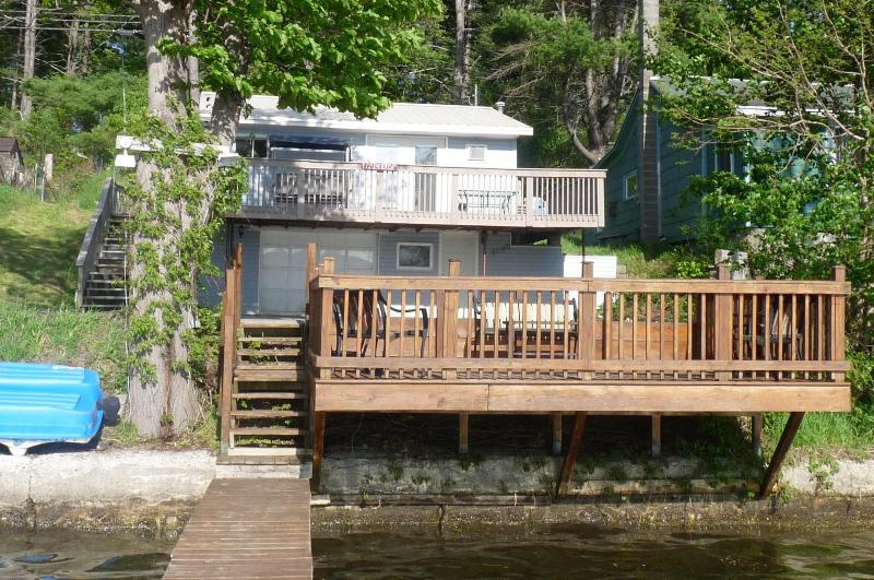 view of cottage from end of dock - Blue Lagoon - Lamoka Lake cottage - Bradford - rentals