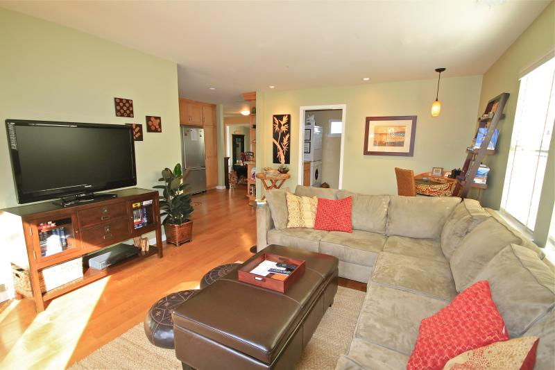 Spacious, light and comfortable great room.  Large flat screen TV.  Sofa converts into queen bed. - Perfect Home for Romantic Escapes, Families, and Dog Owners - Santa Cruz - rentals