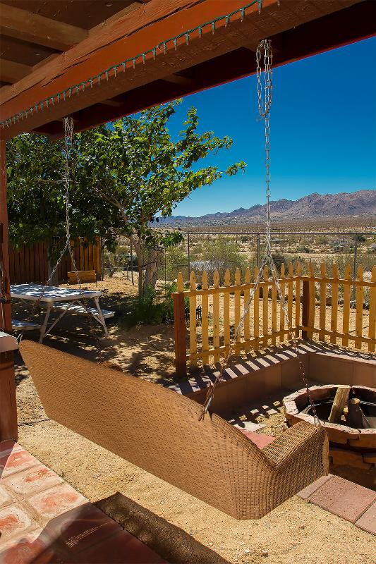 Covered porch with swing and firepit - Peaceful Vista Ranch Overlooking the Valley - Joshua Tree - rentals