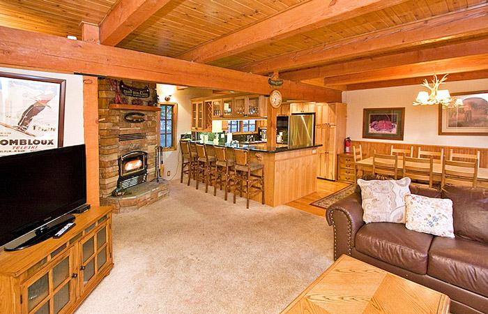 Timber Ridge #2 Living Area With A Wood Burning Fireplace - Timber Ridge 2 - Ski in Ski out Mammoth View Condo - Mammoth Lakes - rentals