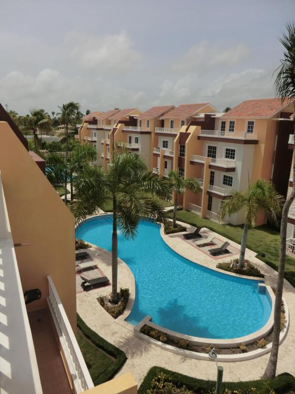 Gorgeous view of community from upper balcony - Estrella del Mar 3BR two story designer PH - Bavaro - rentals